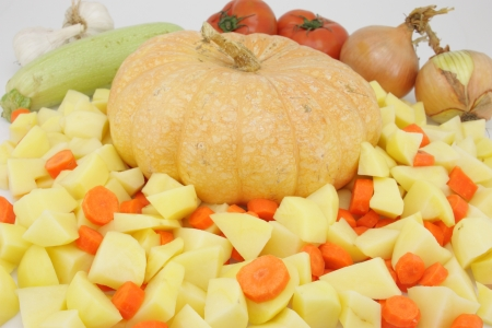 Ingredients to prepare different salads mediterrenea based on diet photo