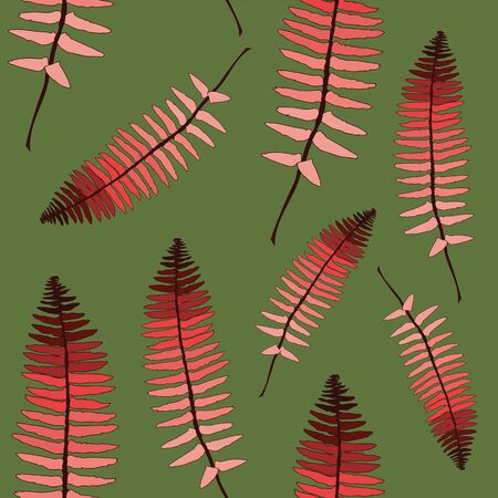 vector caramel tie and dye ferns seamless pattern on a green background Illustration