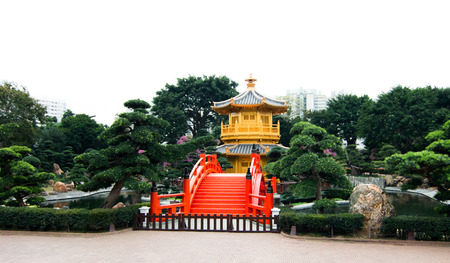 absolute: Golden PavilionFront: Pavilion of Absolute Perfection In Nan Lian Garden, Diamond Hill, Kowloon, Hong Kong Stock Photo