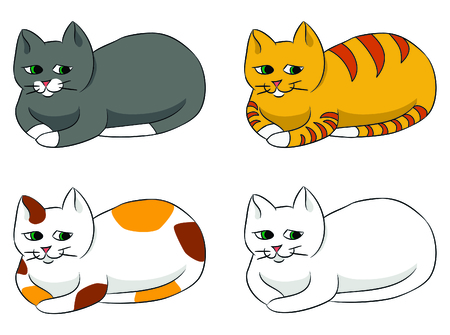 Different cartoon cats set Illustration