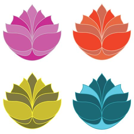 The lotus in four colours.