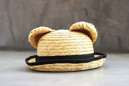 Summer panama straw hat isolated on white photo