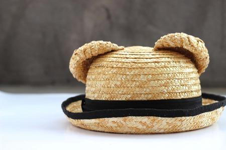 Summer panama straw hat isolated on white photo