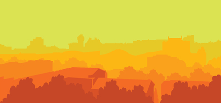 Colorful vector background. Illustration with city landscape