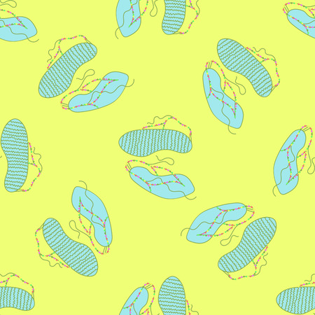 flipflops: Seamless vector pattern. Blue flip-flops with colorful beads