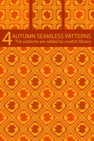 background orange: Set of vector autumn seamless patterns. Maple leaf with geometric ornament