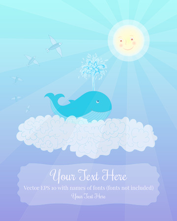 notebook cover: Baby whale, the Sun and flying fish in the sky. Vector template for greeting card or notebook cover Illustration