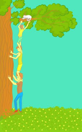 rescuing: Boys Get a Cat Out of a Tree. Vector illustration. Team work. Retro colors. EPS 10 Stock Photo