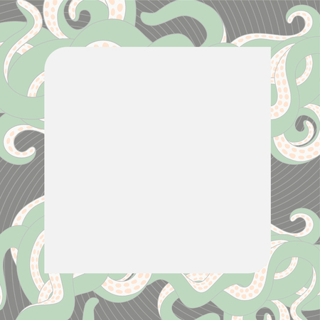feeler: Tentacles marine frame. Template for greeting card or banner. Vector design elenent. Illustration