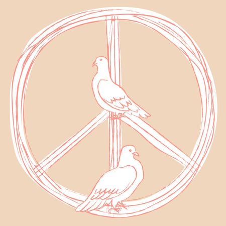 pacific: International Day of Peace. Vector illustration of pacific and a pair of white pigeons. Pink and white.
