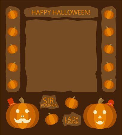 sir: Halloween pumpkins. Sir and Lady Pumpkin, retro cartoon characters