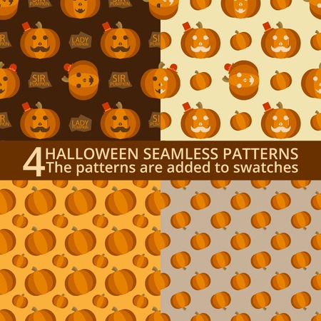 sir: Halloween seamless patterns. Sir and Lady Pumpkin, cartoon characters Illustration