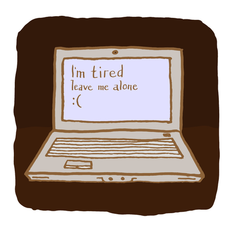 weariness: Emotional laptop is tired and wants to be alone. Creative blue screen of death. Hand drawn pen and ink Illustration