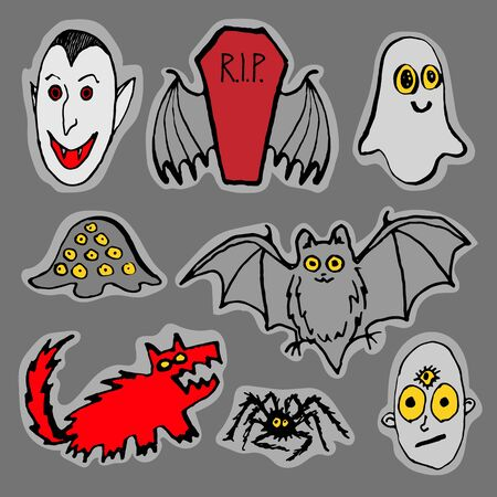 poltergeist: Vector set of funny Halloween monsters. Black gray red. Hand drawn pen and ink