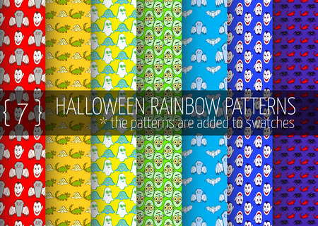 7 halloween rainbow seamless patterns hand drawn monsters pen and ink stock photo
