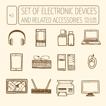 Icons set of electronic devices. Hand drawn, pen and ink. Line art. Vector icons electronic