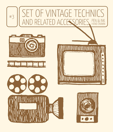 technics: Set of vintage technics. Hand drawn pen and ink. Still camera, retro movie camera, retro tv, music speakers, photographic film