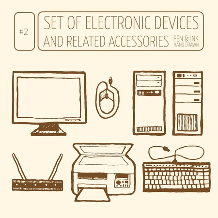 retro computer: Icons set of electronic devices.