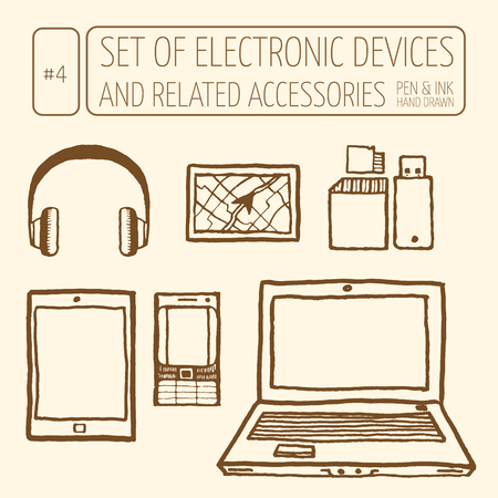 peripheral: Icons set of electronic devices.