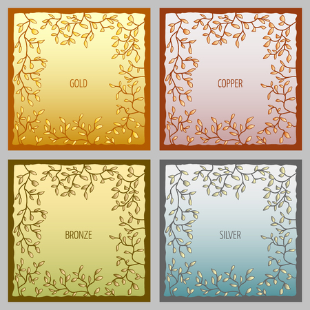input: Set of 4 metal vector frames for text input. Metallic colors gold, copper, bronze and silver Illustration