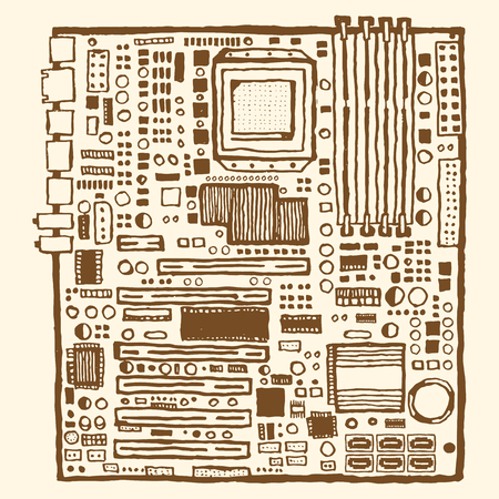 semiconductor: Motherboard hand drawn pen and ink. Electronic component of desktop computer Illustration