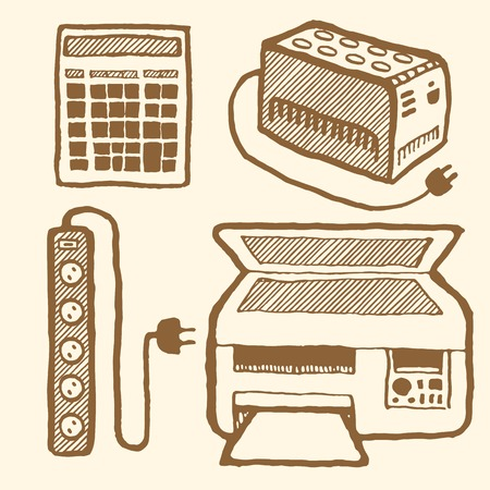 mfp: Office technics set. Hand drawn pen and ink. Vintage style. UPS, electronic pocket calculator, MFP, surge protector