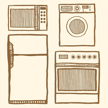 home appliances: Home appliances set. Hand drawn pen and ink. Vintage style. Microwave, refrigerator, oven, washing machine