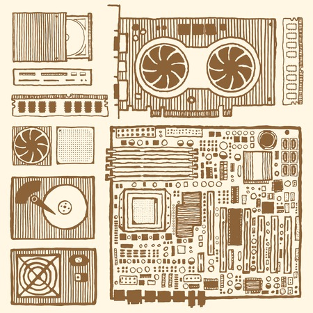 Components of desktop computer. Hand drawn pen and ink. Vintage style. Motherboard, ram, graphic card, optical disc drive, power supply unit, computer fun, hard disc drive, CPU, card reader