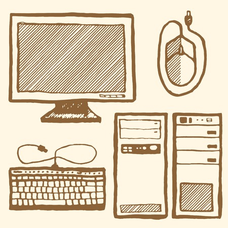 computer mouse icon: Technics set. Hand drawn pen and ink, vintage style. Display, keyboard, computer case, mouse