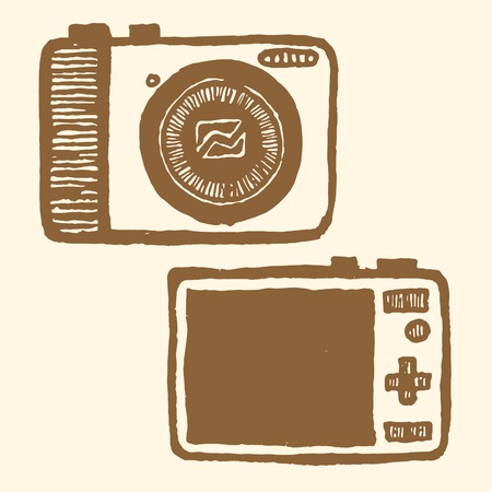 pocket size: Pocket-size digital camera. Vintage style, hand drawn pen and ink. Front and back view