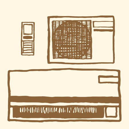 units: Air conditioner. Vintage style, hand drawn pen and ink. Inside and outside units and remote control Illustration