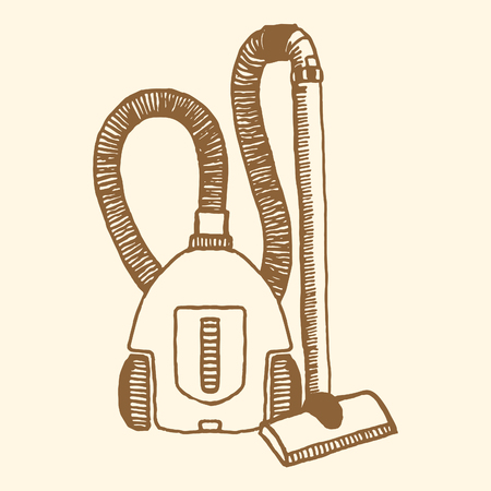 hoover: Vacuum cleaner. Vintage style, hand drawn pen and ink. Retro design element for packaging or wrapping