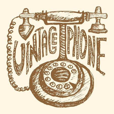 telecommunications equipment: Retro phone. Vintage style, hand drawn pen and ink.  Clip art for scrapbooking or wrapping. Illustration