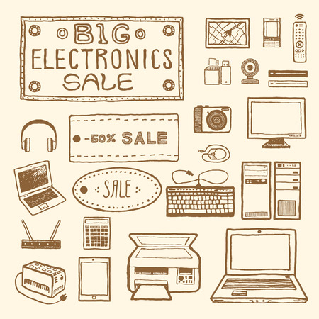 multifunction printer: Big electronics sale. Set of electronic devices. Vintage style, hand drawn pen and ink.  Vector clip art for scrapbooking or wrapping. Retro design element for packaging Illustration
