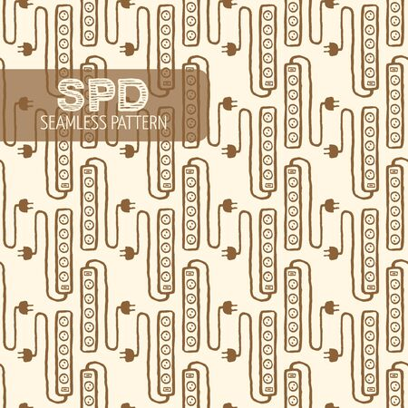 protector: Surge protector seamless pattern.  Illustration