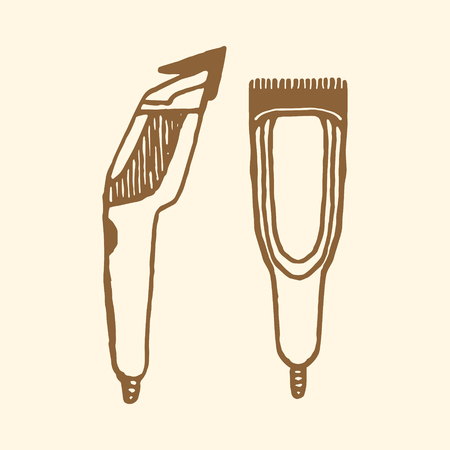 implements: Hair clippers Barbers implements.  Illustration
