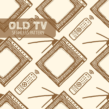 Old TV and remote control seamless pattern.  Illustration