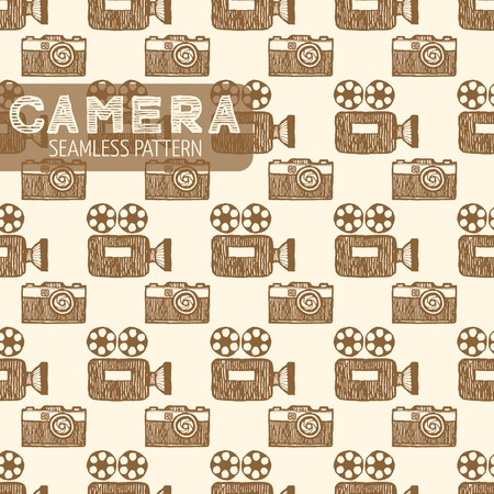 antiquated: Old TV and still camera hipster seamless pattern. Vintage style, hand drawn pen and ink.  Vector seamless pattern for wrapping. Retro design element for electronics store packaging