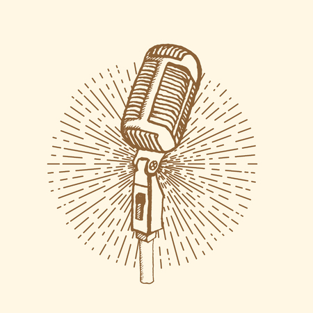 microphone: Microphone. Vintage style, hand drawn pen and ink.  Vector clip art. Retro design element for electronics store packaging, studio, disco or karaoke club, or t-shirt design Stock Photo