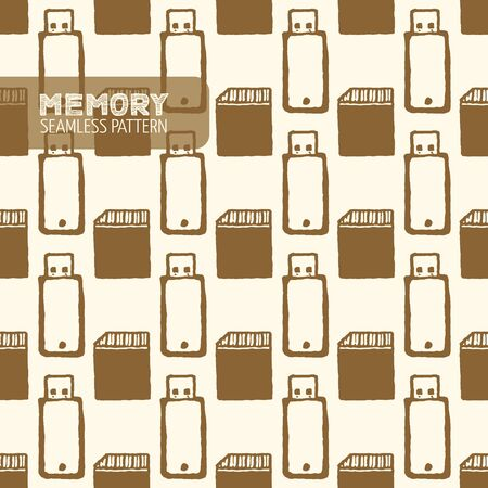 memory drive: Flash memory seamless pattern. USB flash drive. Vintage style, hand drawn pen and ink.  Vector seamless pattern for wrapping. Retro design element for electronics store packaging Illustration