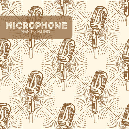 jazz background: Microphone seamless pattern. Vintage style, hand drawn pen and ink.  Vector seamless pattern. Retro design element for electronics store packaging, studio, disco or karaoke club, or t-shirt design