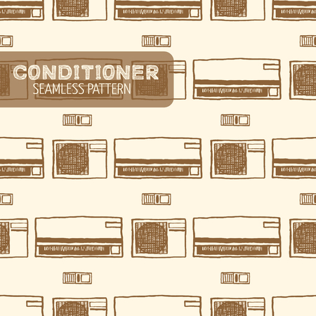 units: Air conditioner seamless pattern. Vintage style, hand drawn pen and ink. Inside and outside units and remote control. Vector seamless pattern. Retro design element for electronics store packaging