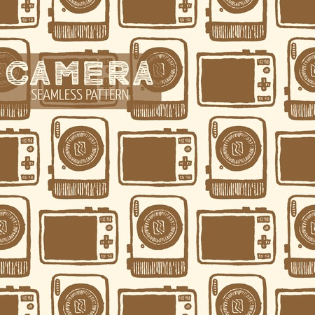 tour operator: Pocket-size digital camera Front and back view seamless pattern. Vintage style, hand drawn pen and ink. Vector seamless pattern. Retro design element for electronics store or tour operator packaging