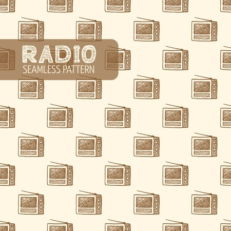 old radio: Old radio seamless pattern. Vintage style, hand drawn pen and ink. Vector seamless pattern. Retro design element for electronics store packaging Illustration