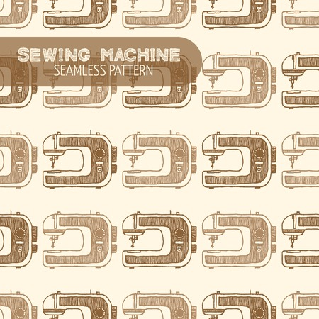 sewing pattern: Sewing Machine seamless pattern. Vintage style, hand drawn pen and ink. Vector seamless pattern. Retro design element for electronics store packaging, hobby shop or sewing supplies store Illustration