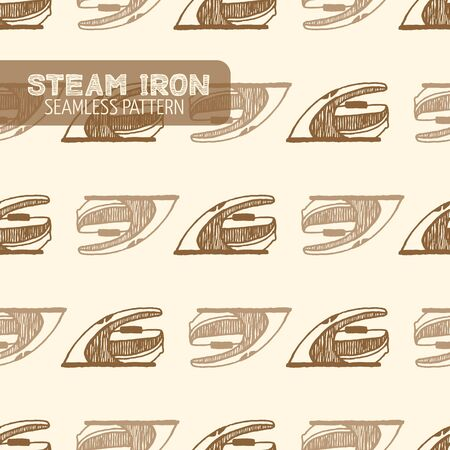 smoothing: Steam Smoothing Iron seamless pattern. Vintage style, hand drawn pen and ink. Vector seamless pattern. Retro design element for electronics store packaging