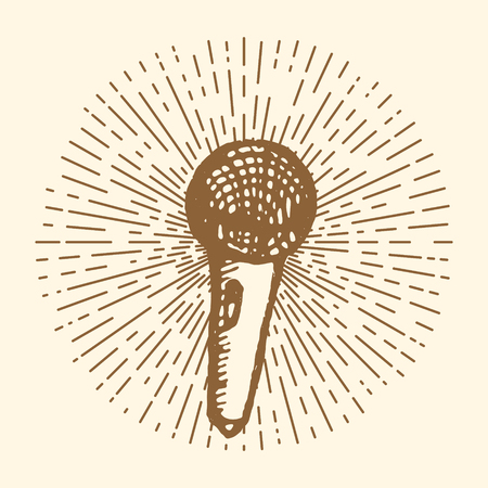 Microphone. Vintage style, hand drawn pen and ink.  Vector clip art. Retro design element for electronics store packaging, studio, disco or karaoke club, or t-shirt design Illustration