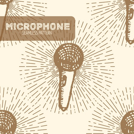 electronics store: Microphone seamless pattern. Vintage style, hand drawn pen and ink.  Vector seamless pattern. Retro design element for electronics store packaging, studio, disco or karaoke club, or t-shirt design