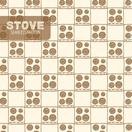 stove top: Electric stove top view abstract seamless pattern. Vintage style, hand drawn pen and ink. Vector seamless pattern. Retro design element for electronics store packaging