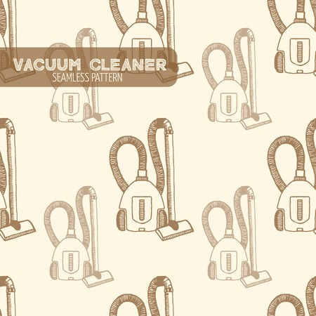 electronics store: Vacuum cleaner seamless pattern. Vintage style, hand drawn pen and ink. Vector seamless pattern. Retro design element for electronics store packaging